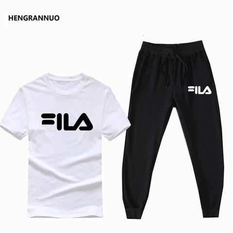 Summer Men Sets T- Shirts+pants Two Pieces Sets Casual Tracksuit Male T-shirt Gyms Fitness  Jogging trouser sports men sets 2019 Multan
