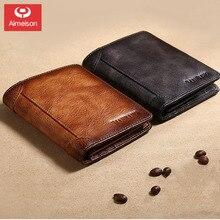 New retro men's wallet anti-theft brush tri-fold ultra-thin