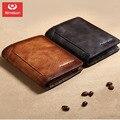 Nova carteira masculina retro anti-roubo escova tri-fold ultra-fina camada de cabeça couro curto carteira masculina asbd033