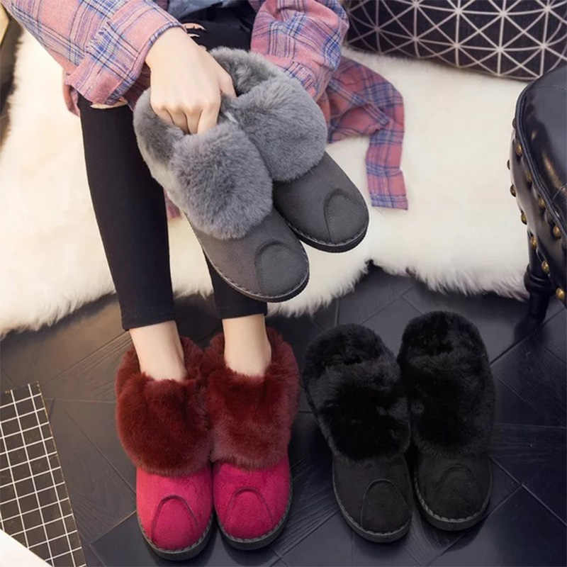 Kadın Flock kar botları kadın sıcak peluş dikiş kısa kürk botları kadın üzerinde kayma platform ayakkabılar bayanlar Casual katı moda çizmeler