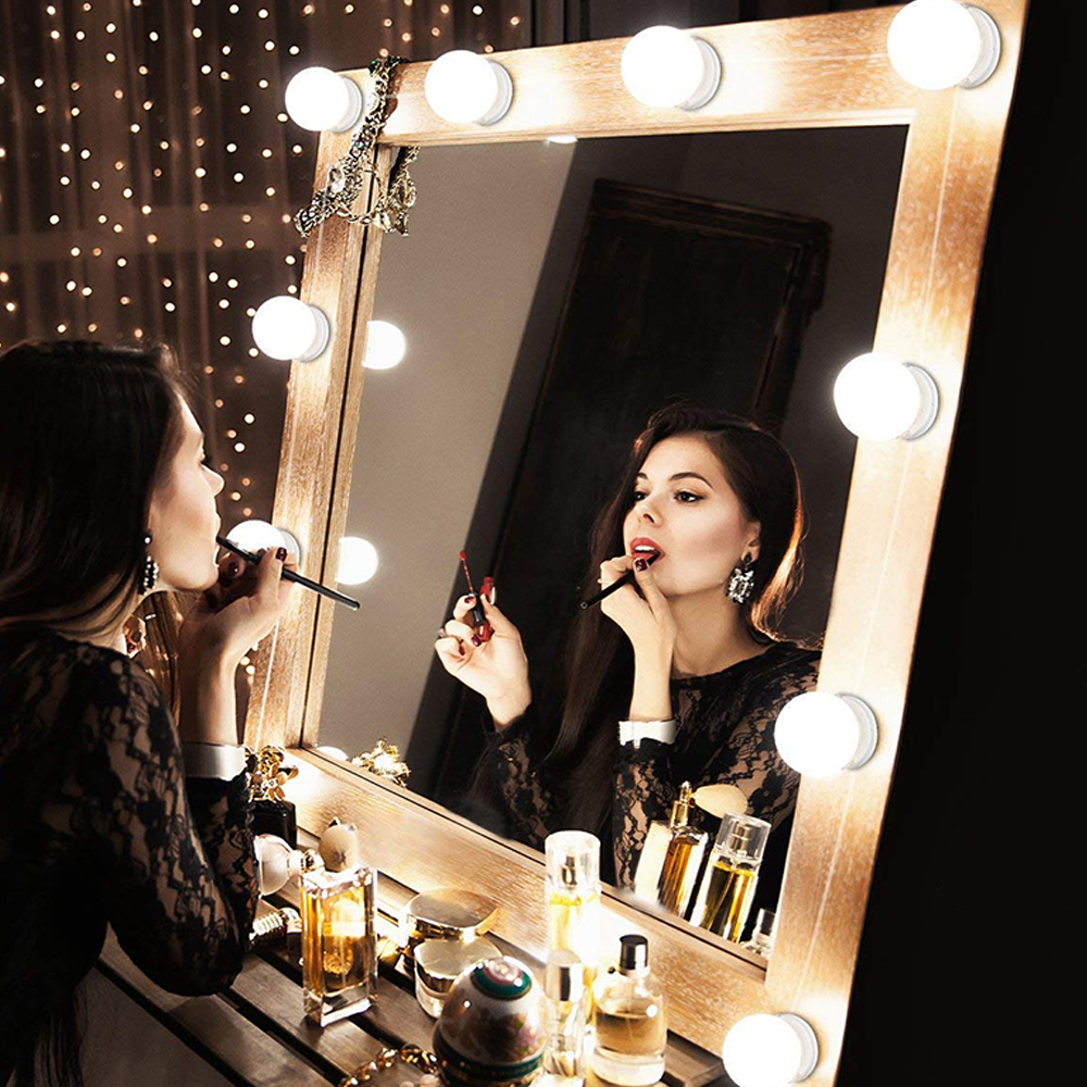 New LED Makeup Mirror Light Bulb Hollywood Vanity Lights Stepless Dimmable EU/USB Wall Lamp 6 10 14Bulbs Kit For Dressing Table