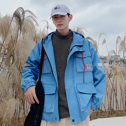 Autumn New Tooling Jacket Men Fashion Contrast Color Casual Multi-pocket Hooded Jacket Streetwear Hip Hop Loose Bomber Jacket Islamabad