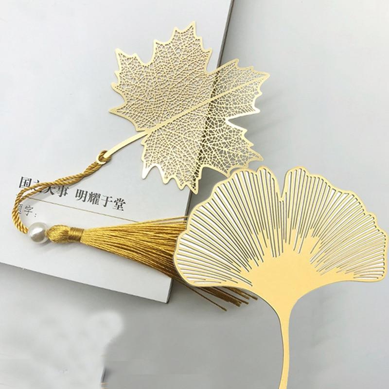 Vein Tasseled Leaf Bookmarks Literature Art Students Supplies Brass Leaf Bookmarks Gifts
