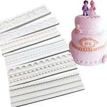 Жемчуг Веревка волна Форма торт сбоку кружево силиконовые сахарные формы инструменты для украшения тортов из мастики