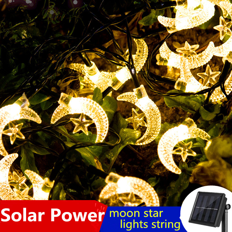 LED Moon Star Solar Power Light String Garden Outdoor Waterproof Twinkle Christmas Fairy Garland Wedding Holiday Party Decor