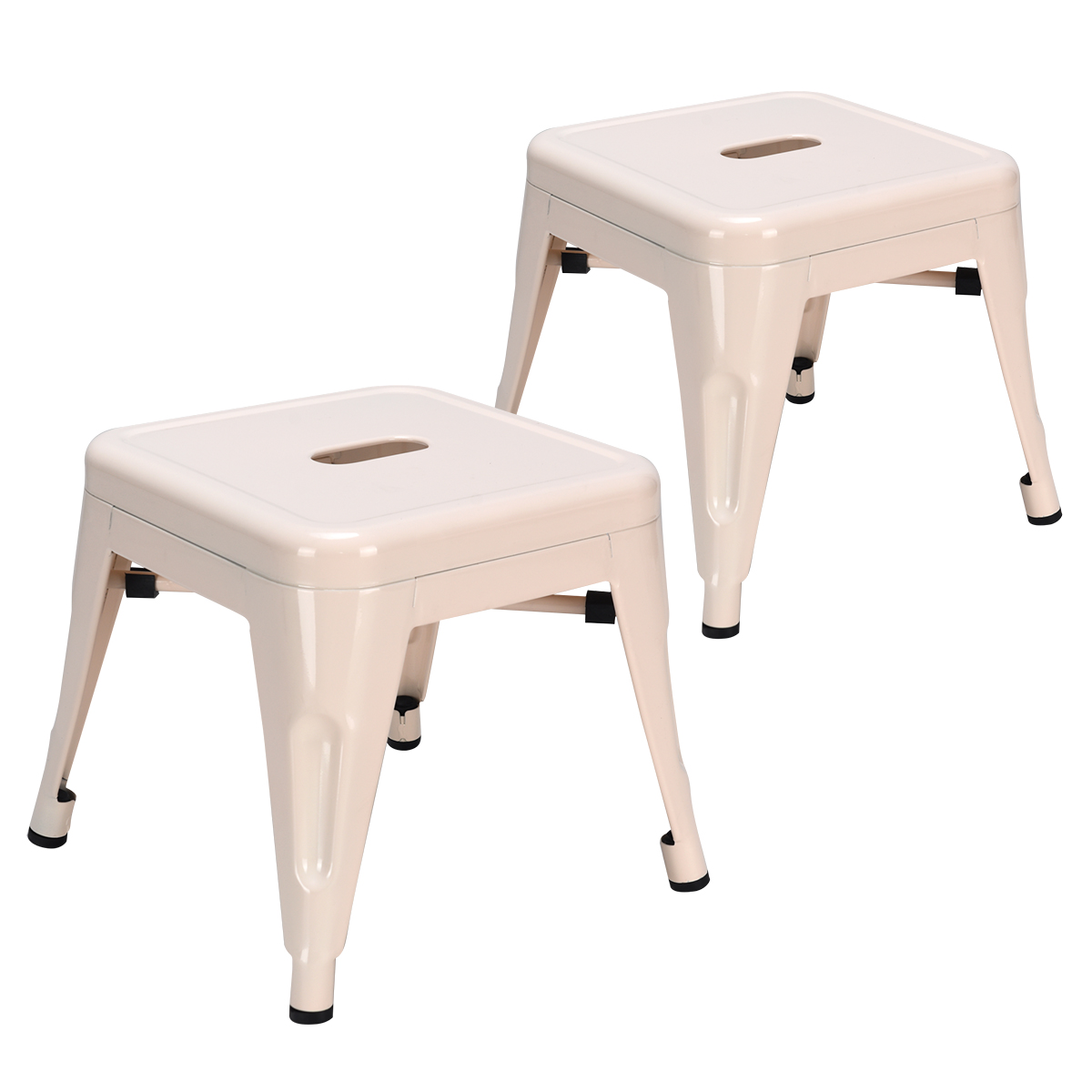 Set Of 2 Kids Toddler Children Stackable  Metal Chair Stool Lightweight White