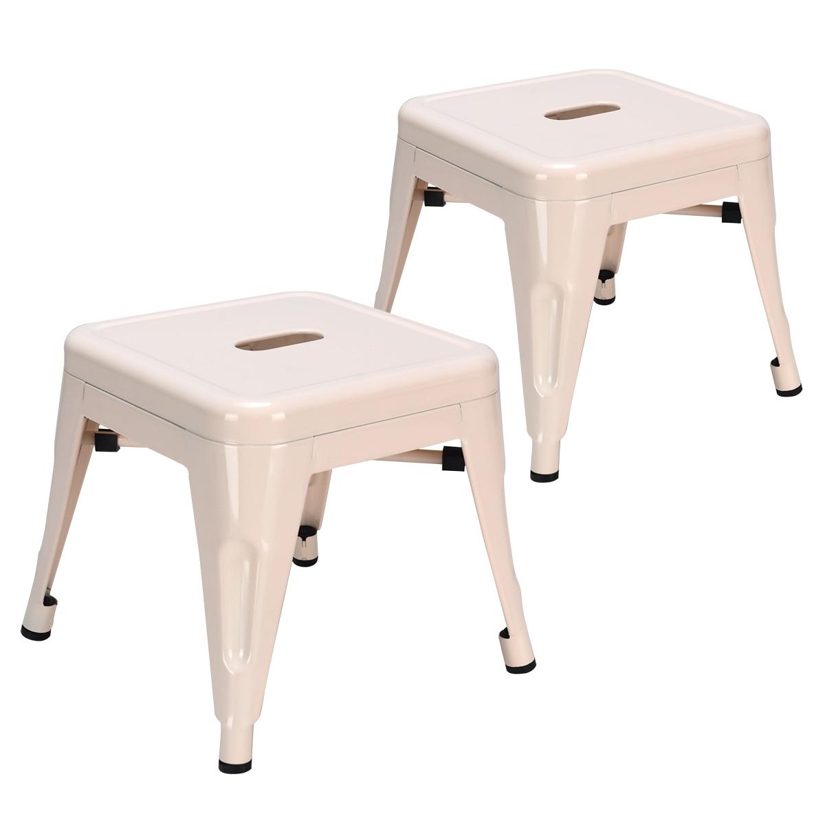 Set Of 2 Kids Toddler Children Stackable  Metal Chair Stool Lightweight White