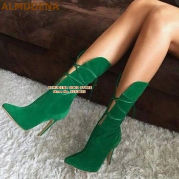 ALMUDENA Women Green Suede Cross Lace-up Boots Runway Fashion Stiletto Heels Pointed Toe Cut-out Mid-calf Dress Boots Heel Shoes luxury brand shoes women mid calf sock purple stretch high heel slim designer pointed toe sexy slip on candy stiletto boots