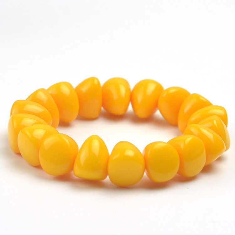 Moda chiński 15*13mm żółte koraliki z wosku pszczelego amber elastyczna bransoletka mężczyźni kobiety Mala medytacja biżuteria szczęście prezenty nowy