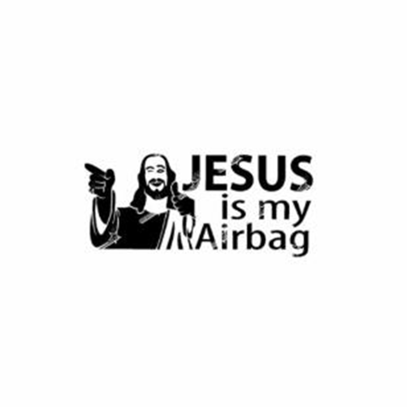 Черно-серебристая интересная виниловая наклейка «Иисус Моя подушка безопасности» для автомобиля и мотоцикла, наклейки, украшения C487