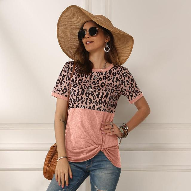 Women 2020 Summer Tee Shirt Female Leopard Stripe Print T Shirt Casual Tops Fashion Streetwear Short Sleeve Cotton T shirt S-XXL