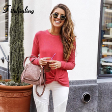 Fitshinling New Arrival 2019 Women Sweaters And Pullovers Autumn Winter Slim Solid Pull Femme Jumper Knitted Sweater Ladies Sale