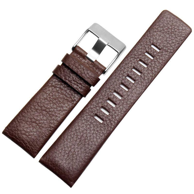 جلد طبيعي الديزل حزام ساعة اليد الرجال النساء ل DZ7313 DZ1405 سوار مربط الساعة الأسود البني الأبيض 22 مللي متر 24 مللي متر 26 مللي متر 28 مللي متر 30 مللي متر