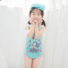 New Model 1-8 Y Girls One Piece Swimsuit Baby Swimwear Kids Bathing Suit with Swimming Cap Children Light Blue Summer Beach Wear