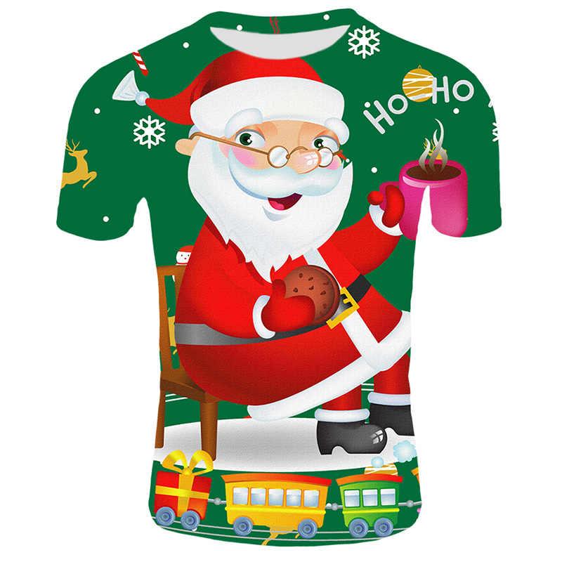 Di modo Di Natale T-shirt Da Uomo Divertente Babbo natale Stampato Magliette casual 3d T shirt Pupazzo di Neve Del Partito Maglietta A Maniche Corte Abbigliamento