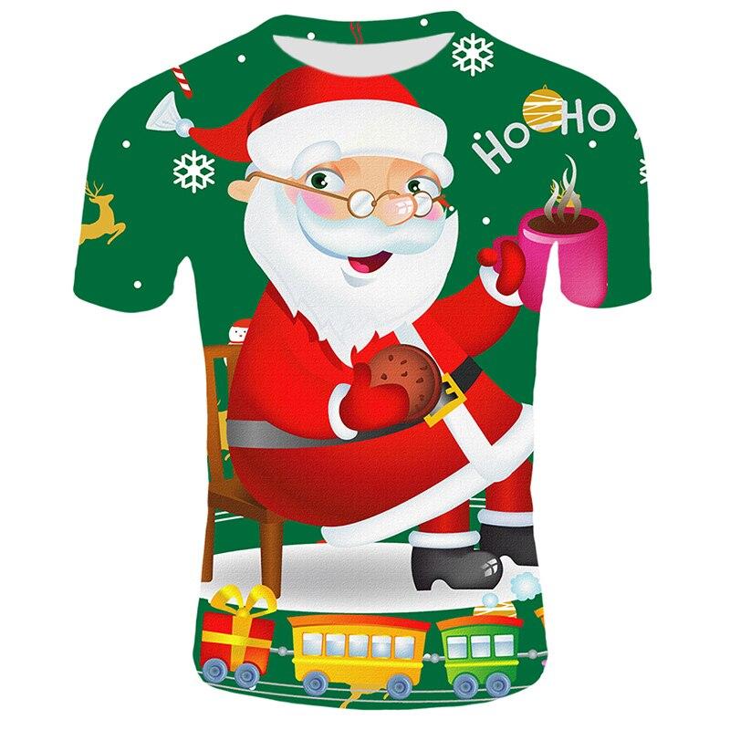 Fashion Christmas T-shirts Men Funny Santa Claus Printed Tshirts Casual 3d T Shirt Snowman Party Tshirt  Short Sleeve Clothing