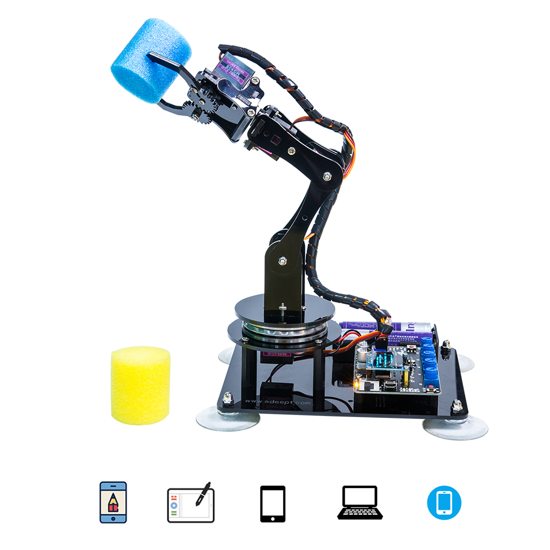 Adeept Arduino Compatible DIY 5-DOF Robotic Arm Kit Stem Robot Arm Kit For Arduino UNO R3 For Children Kid Educational Toys Gift