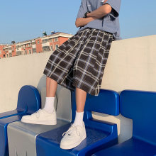 2021 Summer Men's Plaid Shorts Oversize Clothing Casual Knee-length Short Pants Drawstring Black White Baggy Streetwear Bottoms