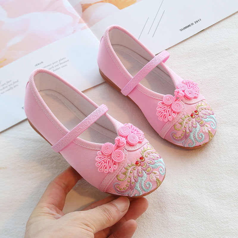 VFOCHI Neue Mädchen Schuhe Chinesischen Stil Stickerei Flated Mädchen Tanzen Schuhe Kinder Princesss Schuhe für Kinder Mädchen Casual Schuhe