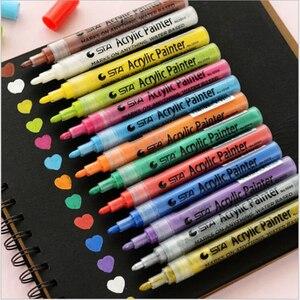 Image 1 - 14 สี STA Bright & ที่มีสีสันกันน้ำ METALLIC Marker สีอะคริลิคปากกา Sketch CRAFT