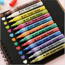 14 색상 sta 밝고 다채로운 방수 금속 아크릴 페인트 마커 펜 스케치 공예 스크랩북