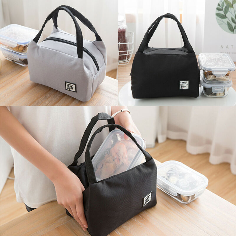 Fashion Solid Color Men Women Lunch Bags Waterproof Insulated Cold Canvas Picnic Totes Carry Case Office Lunchbag