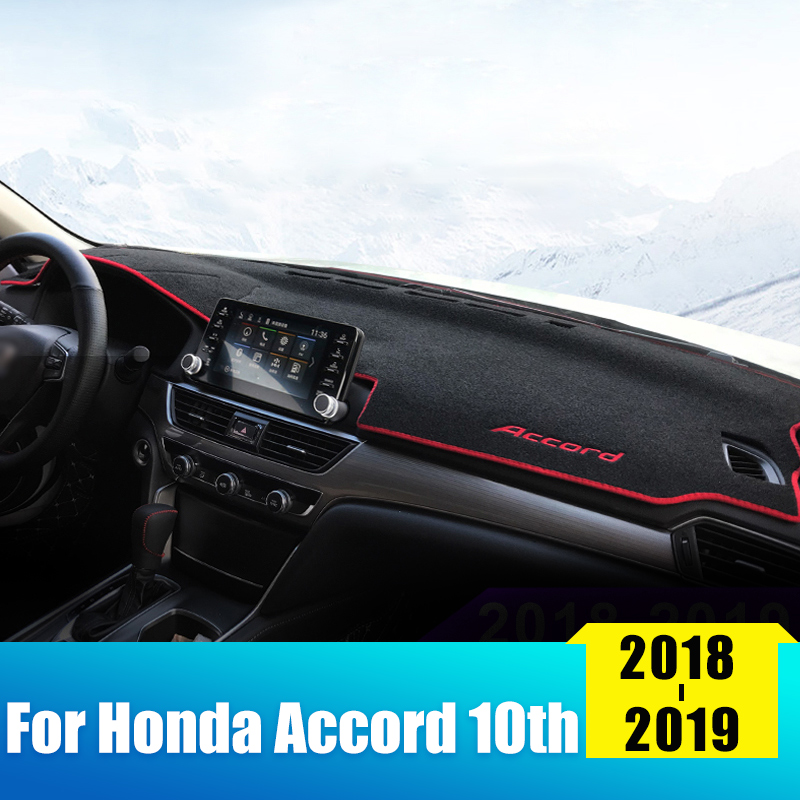 Car Dashboard Avoid Light Pad Instrument Platform Desk Cover Mats Carpets LHD For <font><b>Honda</b></font> <font><b>Accord</b></font> 10th <font><b>2018</b></font> 2019 <font><b>Accessories</b></font> image