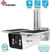 Sanan 1080P Zonne Camera Wifi Wireless Nachtzicht in kleur Outdoor IP67 waterdicht 10400Mah Batterij energie Beveiliging Ip Camera Pir/Radar Human detectie Cctv met 6W zonnepaneel 4x digitale zoom
