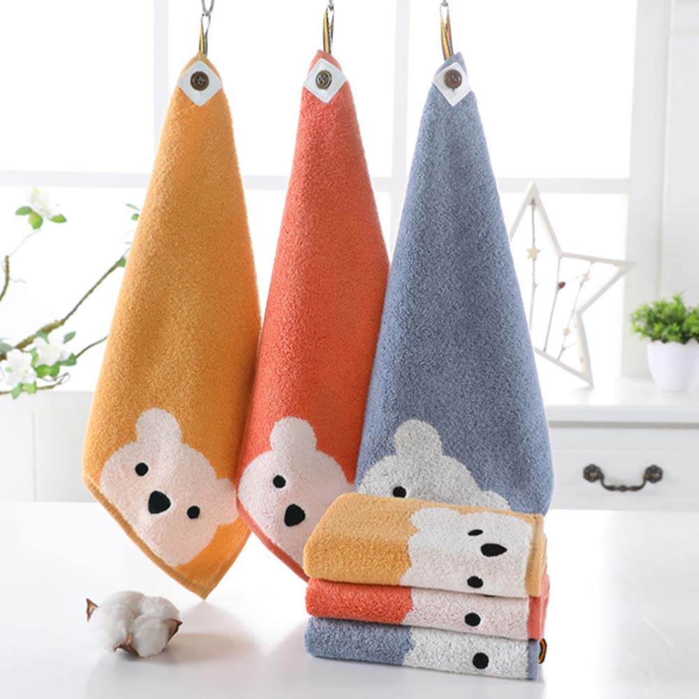 Children Towels Baby Face Towel Cute Cartoon Bear Pattern Hangable Hand Towel Soft Cotton Towels Kids Bathroom Products