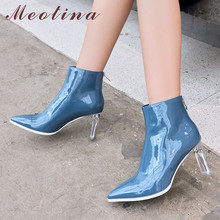 Meotina Winter Ankle Boots Women Natural Genuine Leather Zip Block High Heel Short Boots Transparent Pointed Toe Shoes Lady Fall