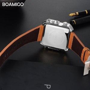 Image 5 - ドロップシッピング BOAMIGO ブランド男性 3 タイムゾーンの時計男スポーツデジタル腕時計ブラウンレザー軍事クォーツ時計レロジオ masculino