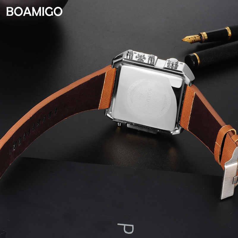 Dropshipping BOAMIGO marca hombre 3 huso horario reloj Hombre Deporte digital cuero marrón militar reloj de cuarzo reloj masculino