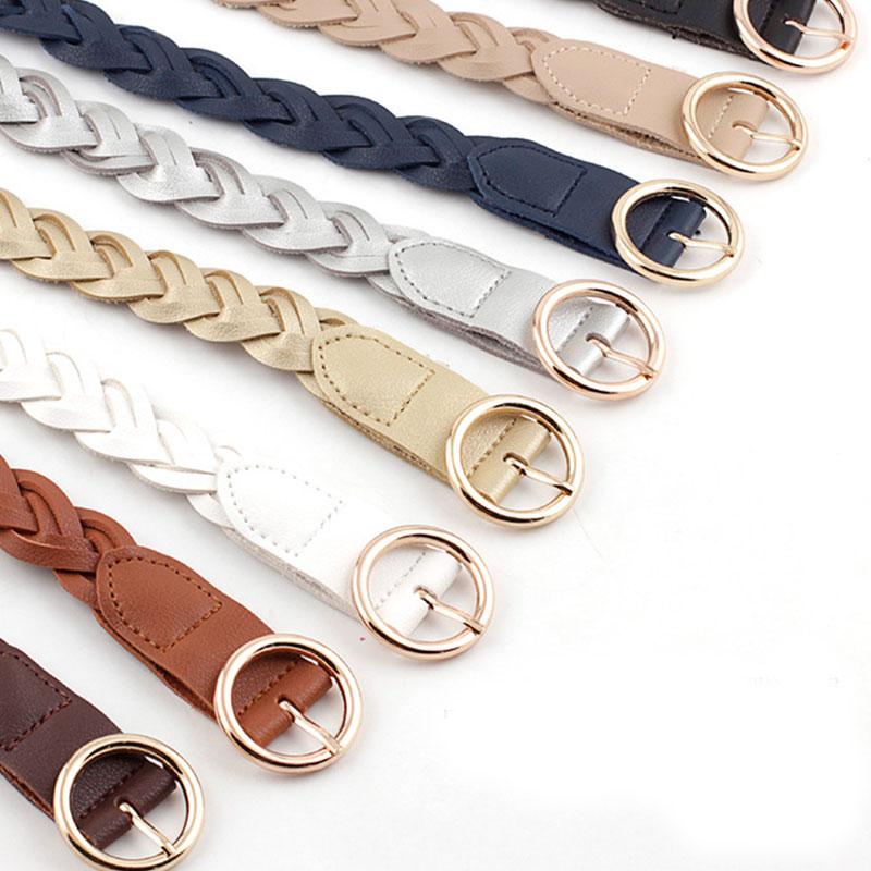 110cm cinture lavorate a maglia da donna tinta unita in pelle intrecciata decorativa cintura sottile cintura rotonda in oro con fibbia ad ardiglione Jeans abito in vita