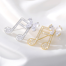 Crystal Rhinestone Musical Note Brooch Vintage Cute Pins and Brooches Men Women Suit Collar Pin Badge Scarf Clip Jewelry Gifts fashion christmas wreath brooch cute jewelry christmas gift pins and brooches crystal mosaic collar clip scarf buckle jewelry