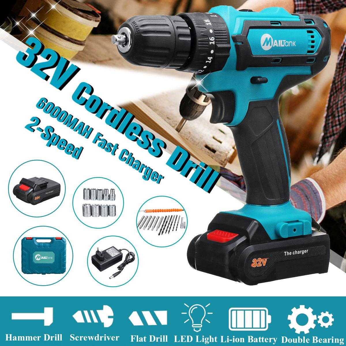 32V Electric Cordless Impact Drill with Lithium-Ion Battery 2 Speed Electric Screwdriver Power Driver 3 IN1 with LED Light