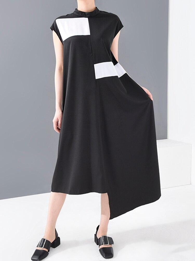 Irregular-Split Collar Long-Dress Fit-Fashion Spring Summer Women Black EAM Sleeveless