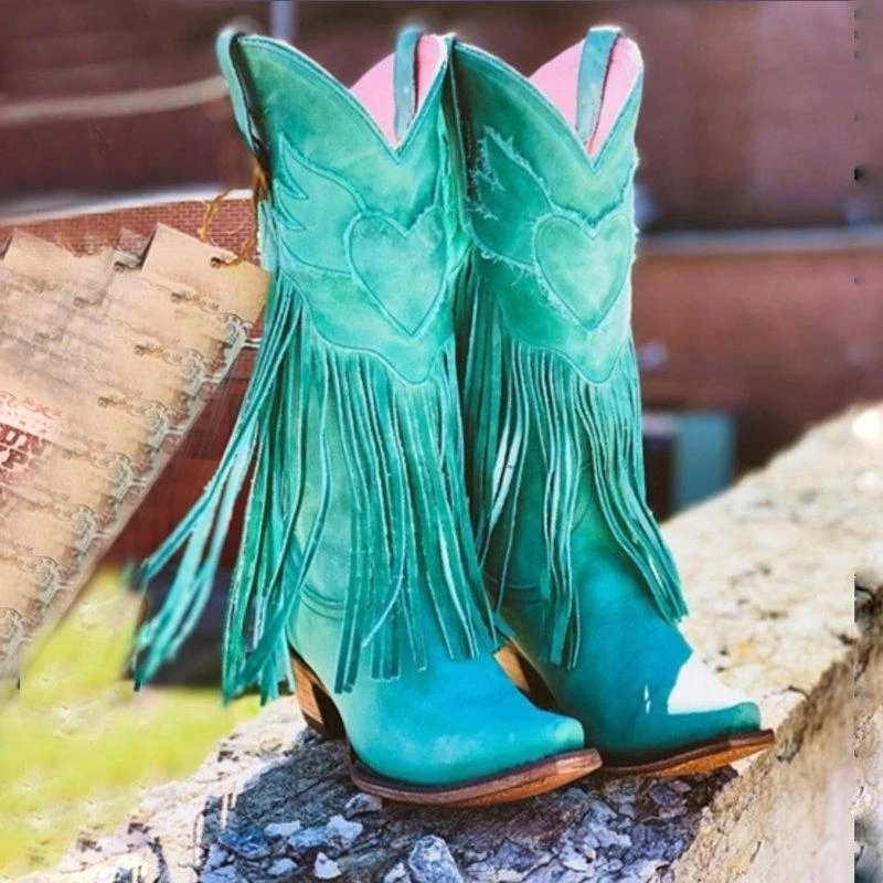 Kobiety w połowie łydki na niskim obcasie stylu boho Gladiator buty motocyklowe frędzlami kowbojki buty wiosna jesień kobiety Tassel buty