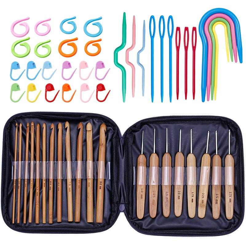 Набор бамбуковый вязальный крючок LMDZ, 20 шт., ручные спицы для ручного вязания, ручное плетение, бытовые инструменты для вязания