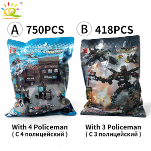 Image 5 - HUIQIBAO SWAT Police Station Truck Model Building Blocks City Machine Helicopter Car Figures Bricks Educational Toy For Children
