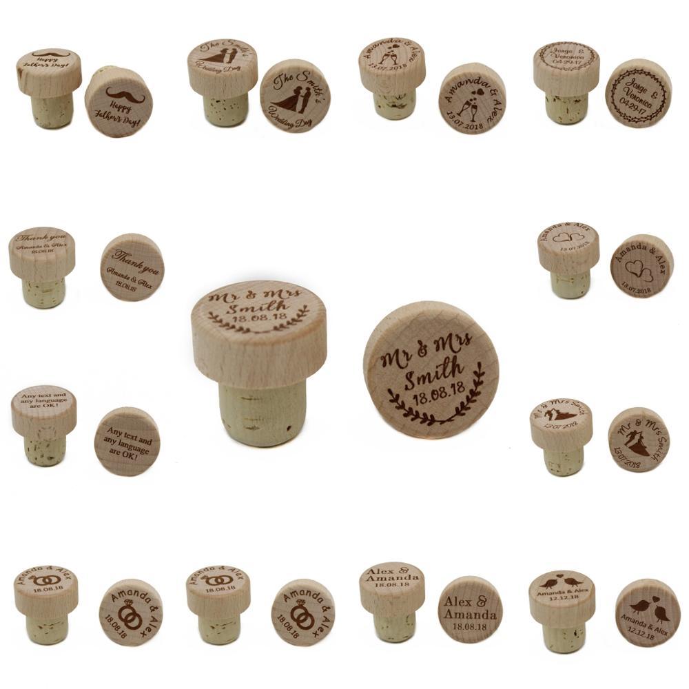 30 sztuk spersonalizowane grawerowane drewno korek do wina laserowe do butelek z korka do wykaszarki prezent T korek ślub Party Logo firmy Decor Favor w Prezenty imprezowe od Dom i ogród na AliExpress - 11.11_Double 11Singles' Day 1