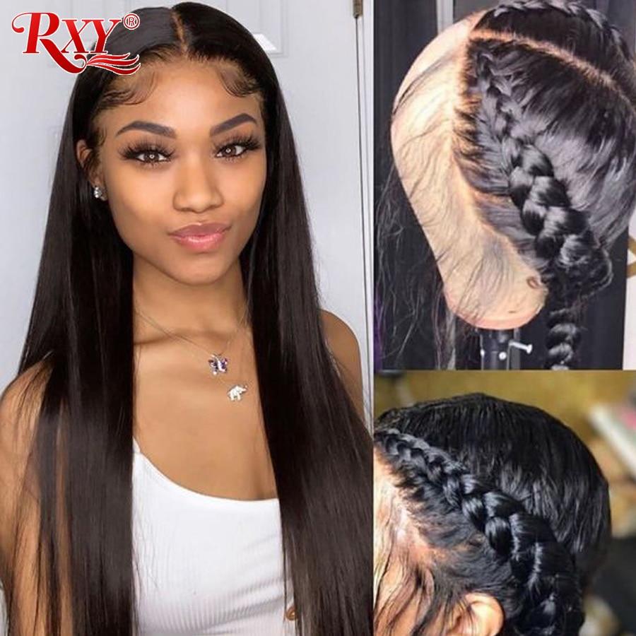 RXY-peluca brasileña de encaje frontal para mujer, pelucas de cabello humano 13x4, peluca recta con malla frontal, pelo Remy de bebé