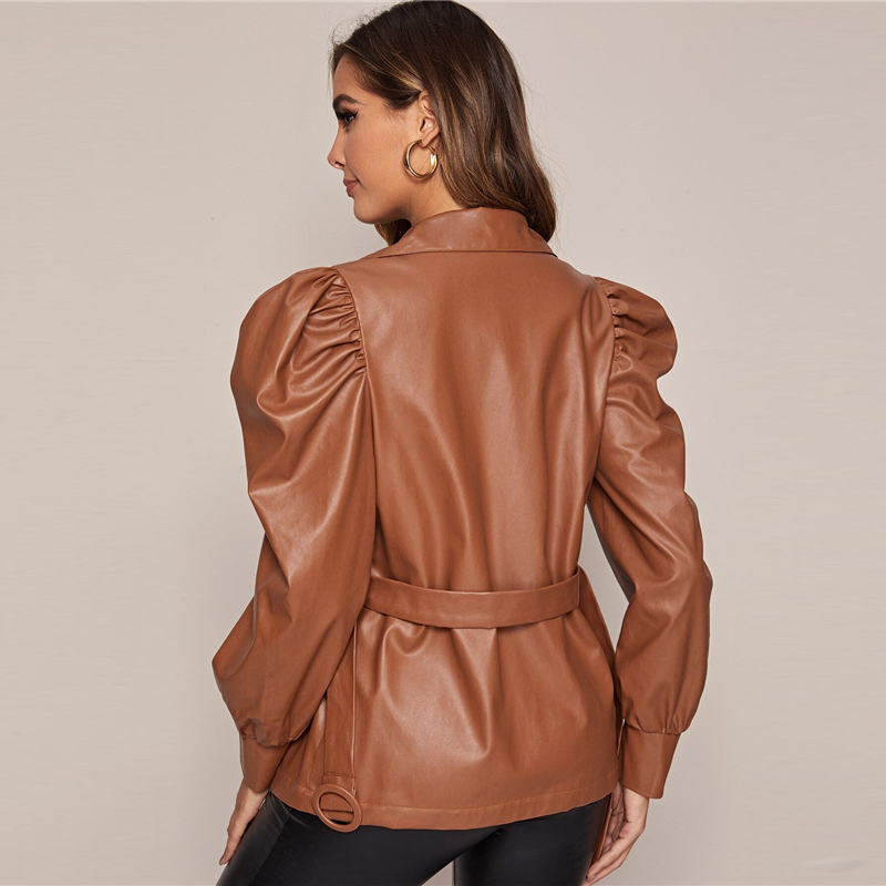 SHEIN Brown Solid PU Leather Casual Jacket With Belt Women Coats Spring Leg-Of-Mutton Sleeve High Street Button Front Outwear