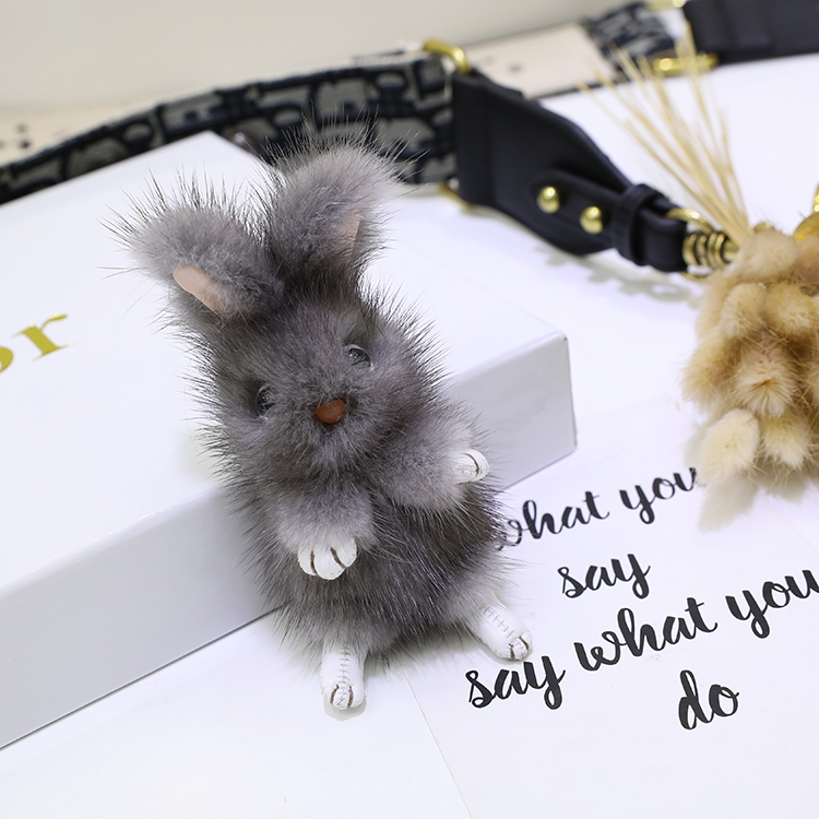 Mink fur big ear rabbit doll pendant cute rabbit bag pendant cute car decoration key chain