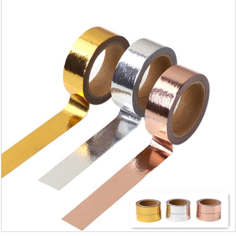 5m*1.5cm DIY Metallic Rose Gold Washi Paper Tape Roll Gift Wrapping Crafts Scrapbooking Sticker Adhesive Tape Wedding Party Fav
