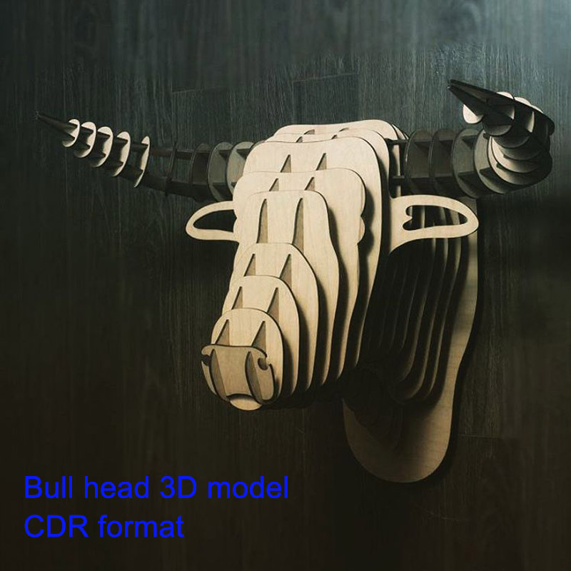 Bull  Head 3D Model CNC Laser Cutting File CDR Format File Vector Design Drawing