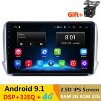10.1 2.5D IPS Android 9.1 Car DVD Multimedia Player GPS for Peugeot 2008 208 2012 13 2016 car radio DSP 32EQ stereo navigation