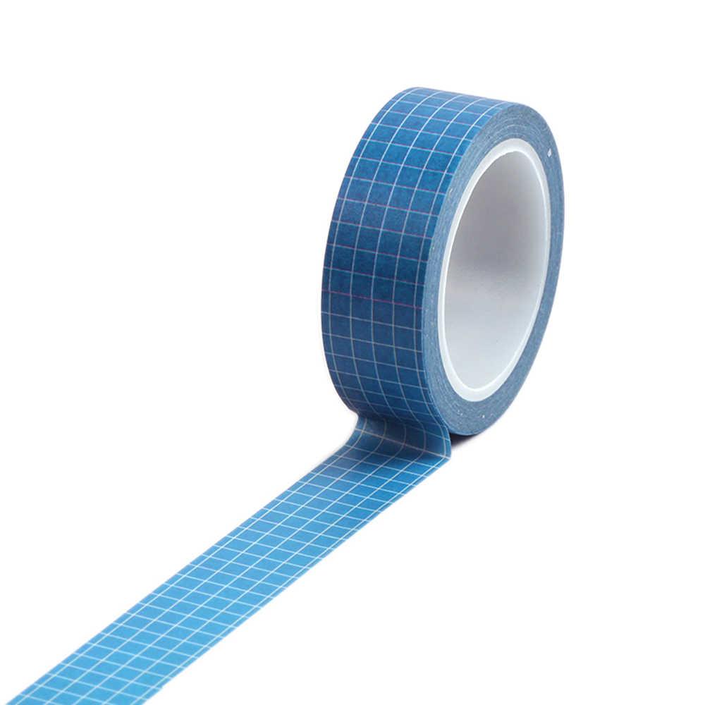 Cinta adhesiva decorativa a cuadros de 7 colores 15mm × 10m cuadrícula patrón impreso Color puro cinta adhesiva washi papel adhesivo para DIY