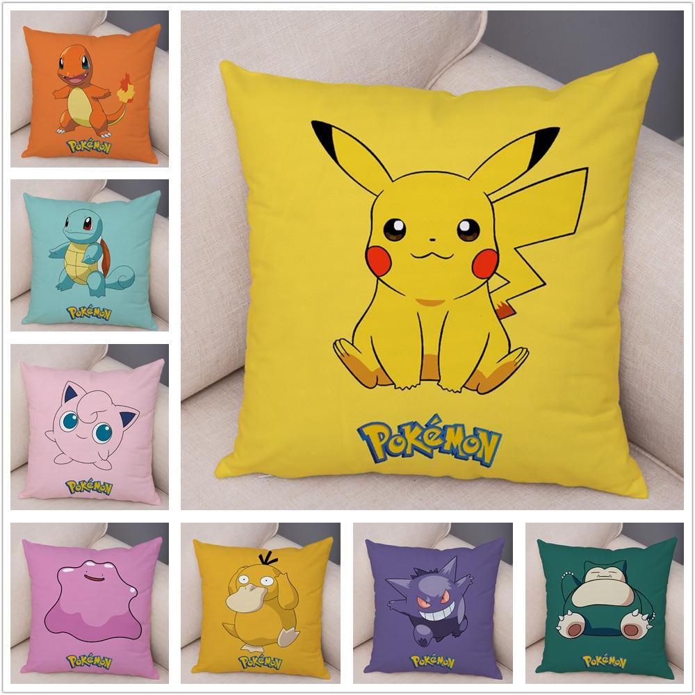 Classic Game Pokemon Pikachu Cushion Cover Decor Colorful Cartoon Pillowcase Pillow For Sofa Car Home Plush Pillow Cover 45x45cm