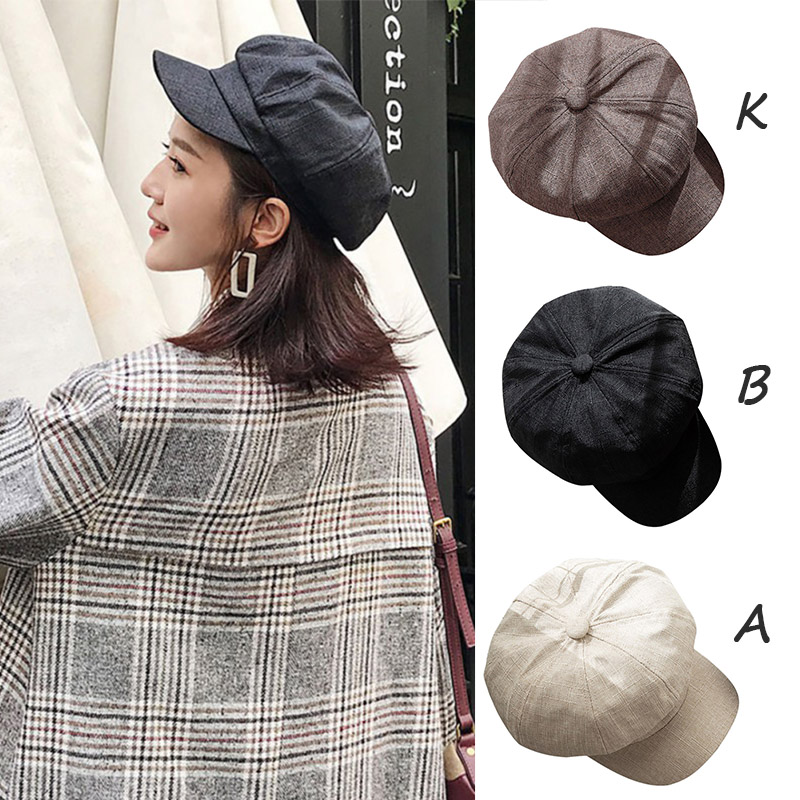 Ladies Cap Casual Winter Warmer Fashion Cap Retro Classical Women British Style Octagonal Hat Solid Color Comfortable Hats