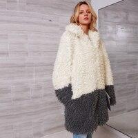 Women Winter Thicken Warm Fur Coat Elegant Patchwork Turn down Collar Fur Jacket Ladies Shaggy Fake Fur Greatcoat Plus 3X 2C0230